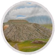 Round Beach Towel featuring the painting Tucumcari Mountain Reflections On Route 66 by Sheri Keith