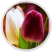 2 Tulips For Mother's Day Round Beach Towel
