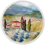 Tuscan Landscape Round Beach Towel