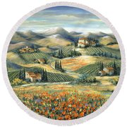 Tuscan Villa And Poppies Round Beach Towel