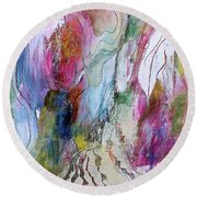 Under The Ice Of Venus Round Beach Towel