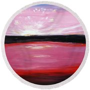 Round Beach Towel featuring the painting Vanquished by Meaghan Troup