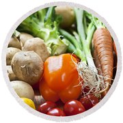 Vegetables Round Beach Towel