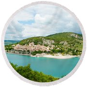 Village On A Hill At The Lakeside Round Beach Towel