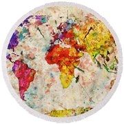 Vintage World Map Round Beach Towel