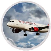 Round Beach Towel featuring the photograph Virgin America Mach Daddy  by Aaron Berg