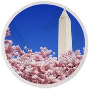 Washington Monument Washington Dc Round Beach Towel
