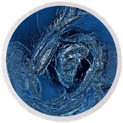 Water Rose Round Beach Towel