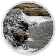 Spring Creek Waterfall Round Beach Towel