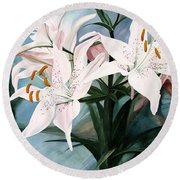 Round Beach Towel featuring the painting White Lilies by Laurie Rohner