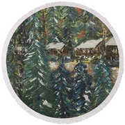 Round Beach Towel featuring the painting Winter Has Come To Door County. by Andrew J Andropolis