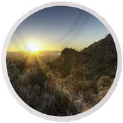Round Beach Towel featuring the photograph Winter Sunset by Lynn Geoffroy