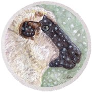 Round Beach Towel featuring the painting Wishing Ewe A White Christmas by Angela Davies