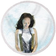 Woman Floats Underwater  Round Beach Towel