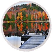 Wooden Dock On Autumn Lake Round Beach Towel
