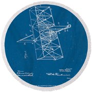 Wright Brothers Flying Machine Patent Round Beach Towel