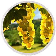 Yellow Grapes Round Beach Towel