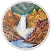 Yellowstone Falls Round Beach Towel by Lou Ann Bagnall