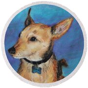 Round Beach Towel featuring the painting Zack by Jeanne Fischer
