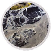 Iceland Aerial Photo Round Beach Towel