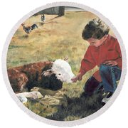 Round Beach Towel featuring the painting 20 Minute Orphan by Lori Brackett