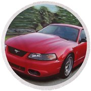 2001 Ford Mustang Cobra Round Beach Towel