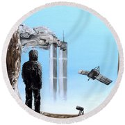 2012-confronting Inevitability Round Beach Towel