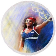 2012 Tennis Olympics Gold Medal Serena Williams Round Beach Towel by Miki De Goodaboom