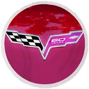 2013 Corvette 60th Anniversary Hood Logo Painted Round Beach Towel
