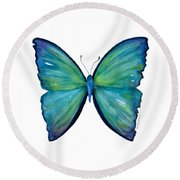 21 Blue Aega Butterfly Round Beach Towel