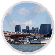 Buildings At The Waterfront Round Beach Towel