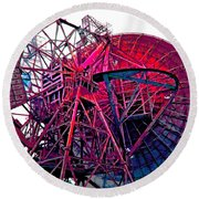 26 East Antenna Abstract 4 Round Beach Towel