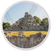 Edzna In Campeche Round Beach Towel