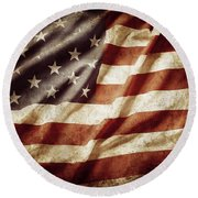 American Flag 53 Round Beach Towel