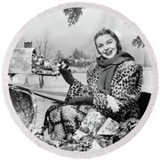 1950s Smiling Woman Looking At Camera Round Beach Towel