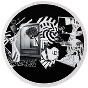 Round Beach Towel featuring the mixed media 2d Elements In Black And White by Xueling Zou