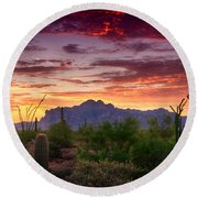 A Superstition Sunrise  Round Beach Towel by Saija  Lehtonen