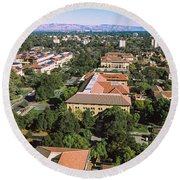 Aerial View Of Stanford University Round Beach Towel
