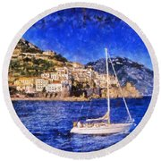Amalfi Town In Italy Round Beach Towel