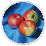 3 Apples Round Beach Towel