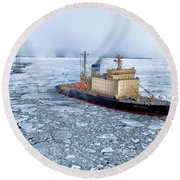 Round Beach Towel featuring the photograph Arctic Sea Ocean Water Antarctica Winter Snow by Paul Fearn
