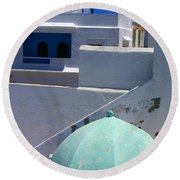 Round Beach Towel featuring the photograph Asilah Meaning Authentic In Arabic Fortified Town On Northwest Tip Of Atlantic Coast Of Morocco by Ralph A  Ledergerber-Photography