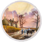 Round Beach Towel featuring the painting Autumn Gold by Ken Wood