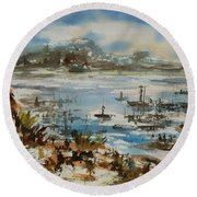Round Beach Towel featuring the painting Bay Scene by Xueling Zou