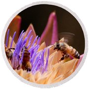 Bees In The Artichoke Round Beach Towel