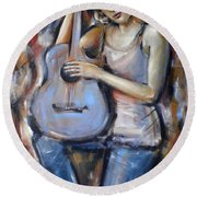 Blue Guitar 010709 Round Beach Towel by Selena Boron