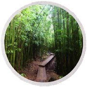 Boardwalk Passing Through Bamboo Trees Round Beach Towel