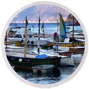 Round Beach Towel featuring the photograph Boats In The Harbor by Mike Ste Marie