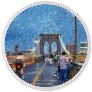 Brooklyn Bridge Promenade Round Beach Towel