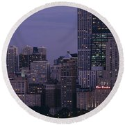 Buildings In A City, Chicago, Cook Round Beach Towel